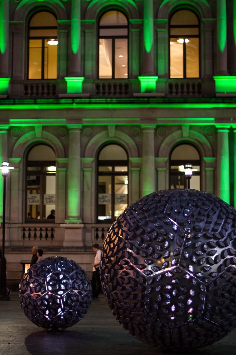 Brisbane Square Sculpture in front of Treasury building
