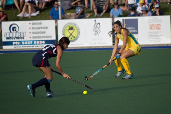 Katie Reinprecht (USA) attacking, Jill Dwyer (Australia) defending