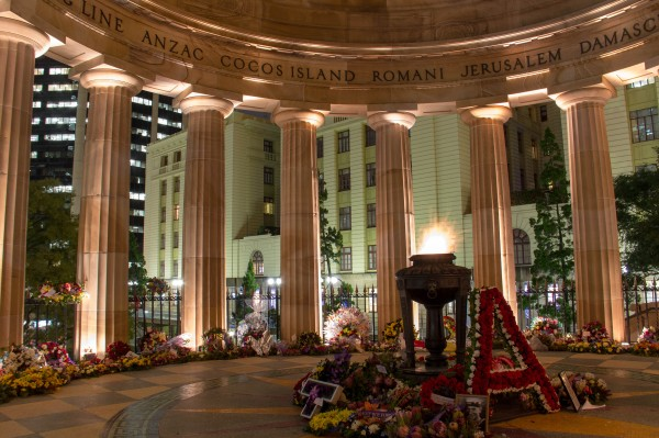 Anzac Square Memorial, still covered in wreaths from Anzac Day.  ISO100, 18mm, f/10, 15s.