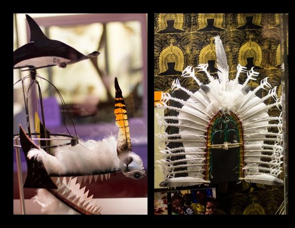 Modern and traditional Headdresses.  Headdress, Erub Island by Ken Thaiday Snr on left.