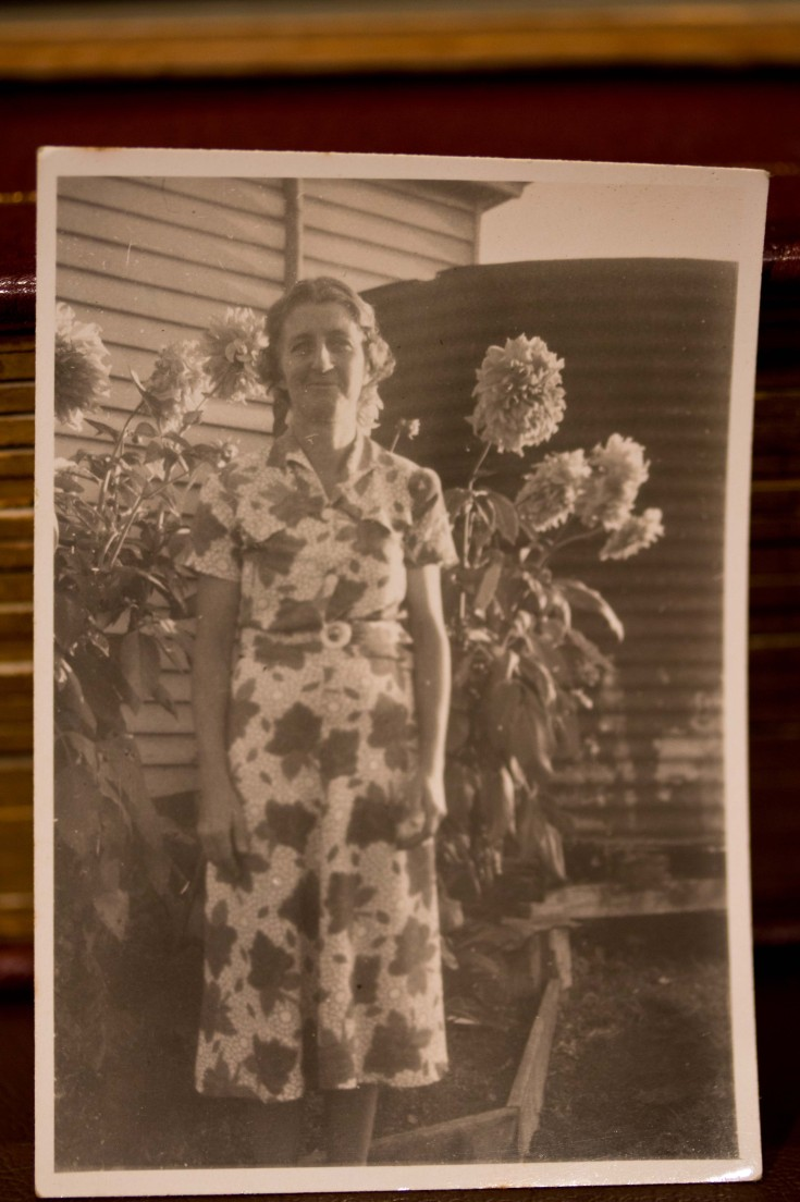 """See the Dahlias Jane Cowl (Apricot Yellow)"" - my paternal grandmother Beryl, early 1950's (dec'd 1954), Stephen St Toowoomba"