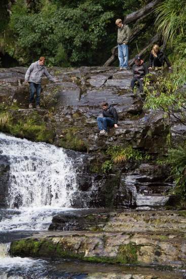 Adventurous souls, the upper falls, McLean Falls, The Catlins