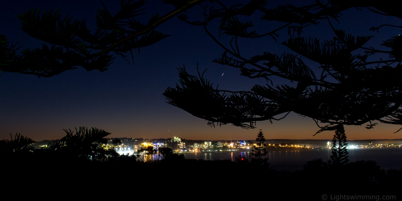 Mooloolaba Skyline, from Point Cartwright, ISO100, 22mm, f/14, 79s + exp comp.