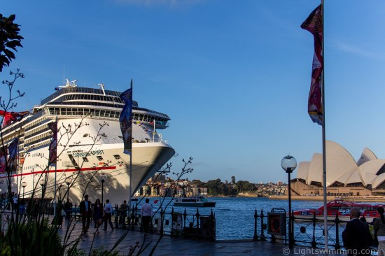'Carnival Spirit' docked at Circular Quay, Sydney Opera House in the background.