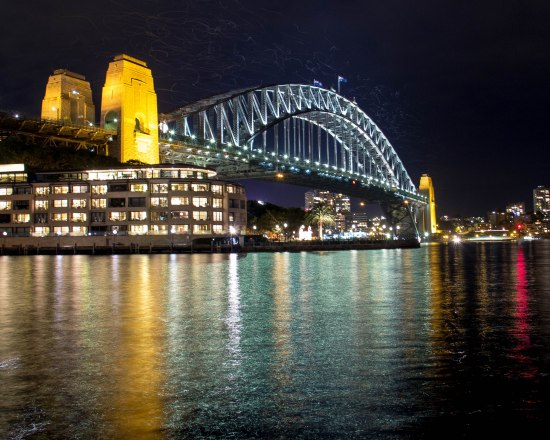 Sydney Harbour Bridge and aerial visitors, Night Long Exposure