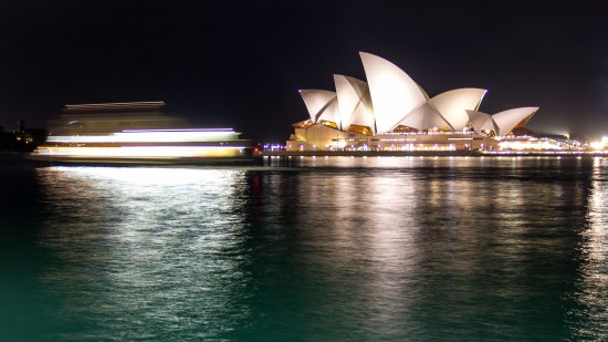 Sydney Opera House and Sydney Ferry, Night Long Exposure