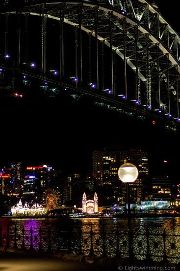 Luna Park lights, below the Sydney Harbour Bridge, from Dawes Point Park Sydney